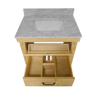 Birmingham 30-inch Vanity with Carrara Marble Top