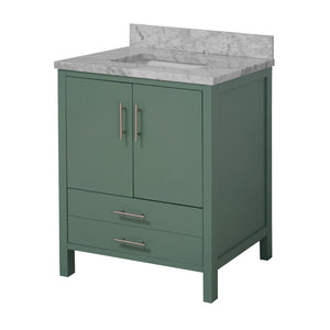 California 30-inch Vanity with Carrara Marble Top