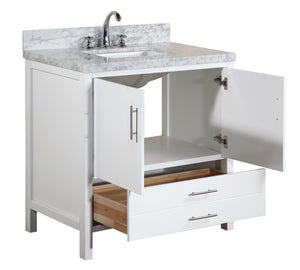 California 36-inch Vanity with Carrara Marble Top
