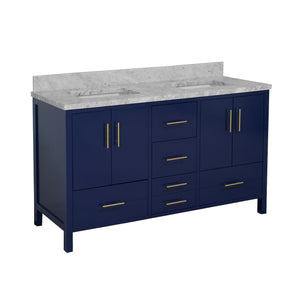 California 60-inch Double Vanity with Carrara Marble Top