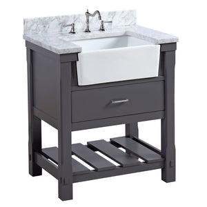 Charlotte 30-inch Farmhouse Vanity with Carrara Marble Top