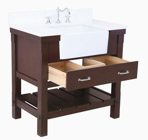 Charlotte 36-inch Farmhouse Vanity with Quartz Top
