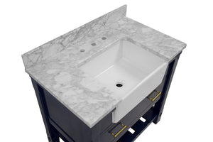 Charlotte 36-inch Farmhouse Vanity with Carrara Marble Top