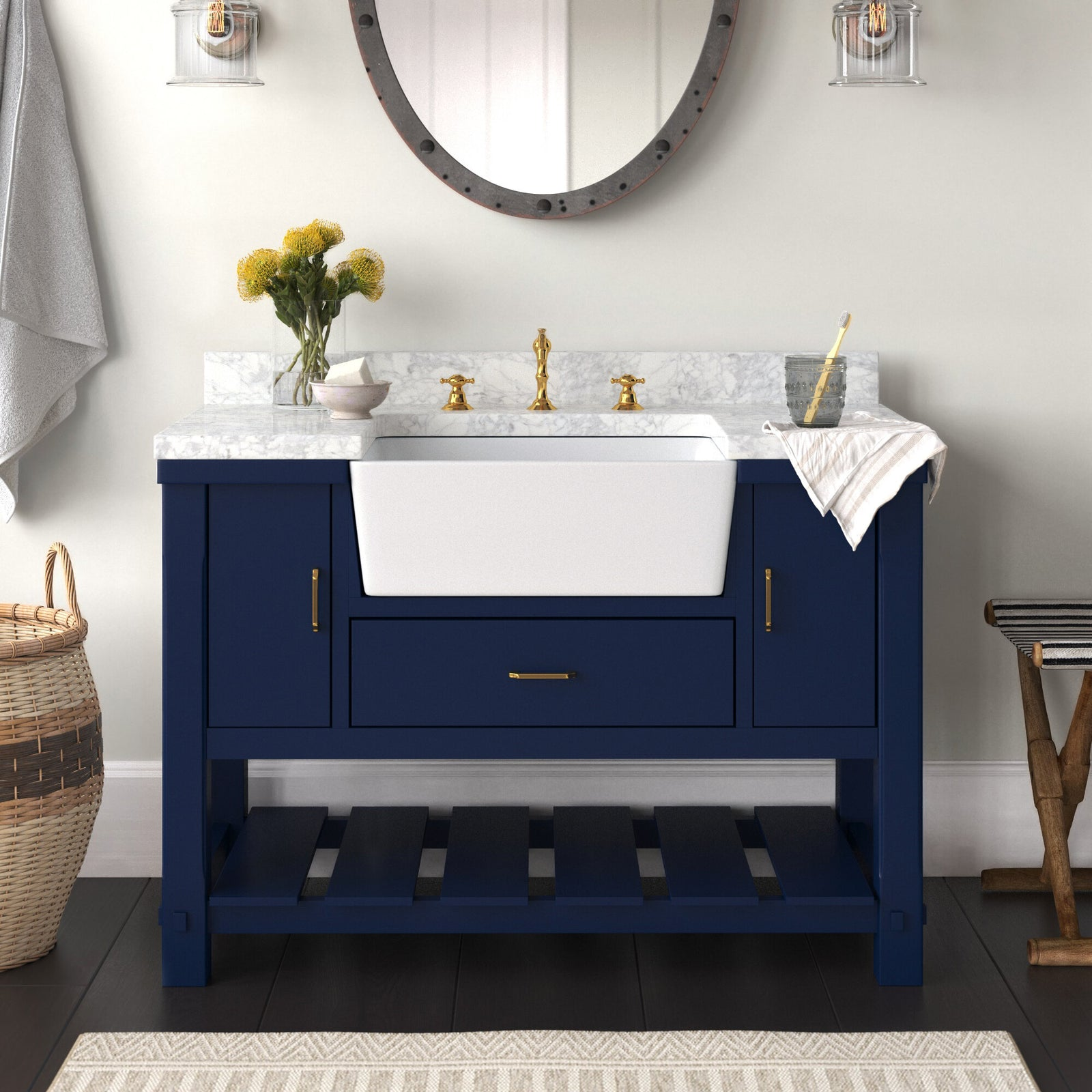 Charlotte 42-inch Royal Blue Farmhouse Bathroom Vanity Carrara Marble Top