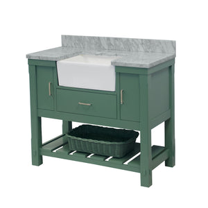Charlotte 42-inch Farmhouse Vanity with Carrara Marble Top