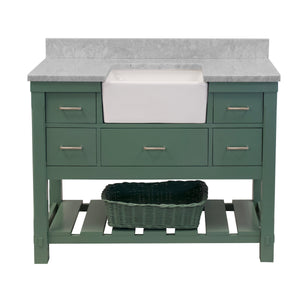 Charlotte 48-inch Farmhouse Vanity with Carrara Marble Top