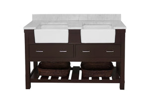 Charlotte 60-inch Double Farmhouse Vanity with Carrara Marble Top
