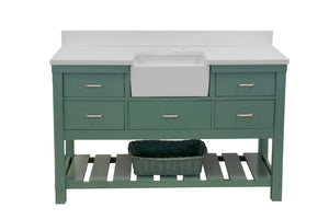 Charlotte 60-inch Single Farmhouse Vanity with Quartz Top