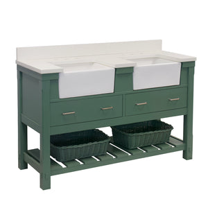 charlotte 60 sage green bathroom vanity quartz