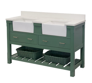 Charlotte 60-inch Double Farmhouse Vanity with Quartz Top