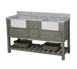 Charlotte 72-inch Farmhouse Double Vanity with Carrara Marble Top