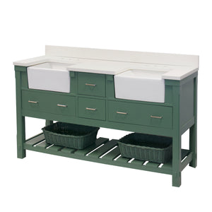 Charlotte 72-inch Farmhouse Double Vanity with Quartz Top