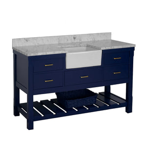 Charlotte 60-inch Single Farmhouse Vanity with Carrara Marble Top