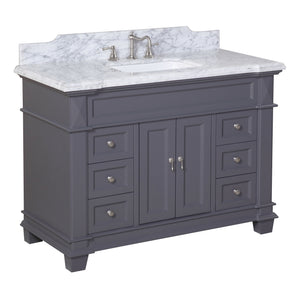 "Elizabeth 48"" Charcoal Gray Bathroom Vanity with Carrara Marble Top"