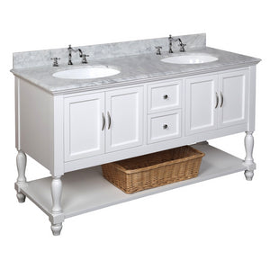 "Beverly 60"" White Double Bathroom Vanity with Carrara Marble Top"
