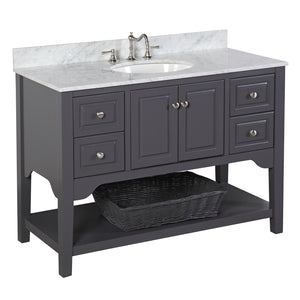 "Washington 48"" Charcoal Gray Bathroom Vanity with Carrara Marble Top"