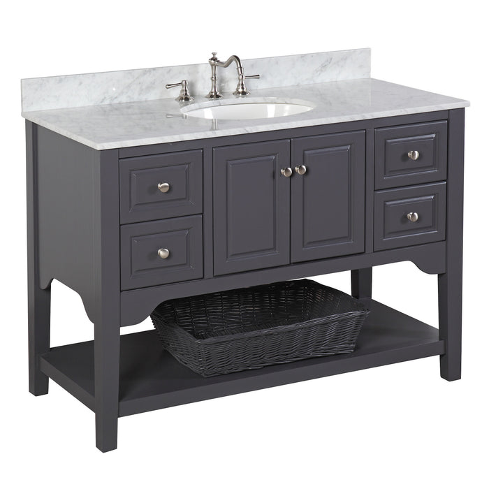 Washington 48-inch Vanity (Carrara/Charcoal Gray)