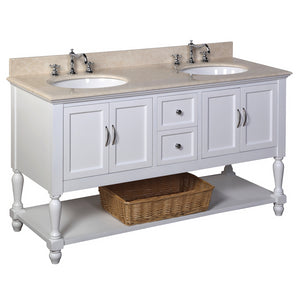 "Beverly 60"" White Double Bathroom Vanity with Crema Marfil Top"