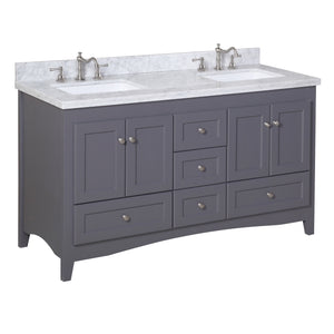 Abbey 60-inch Double (Carrara/Charcoal Gray)
