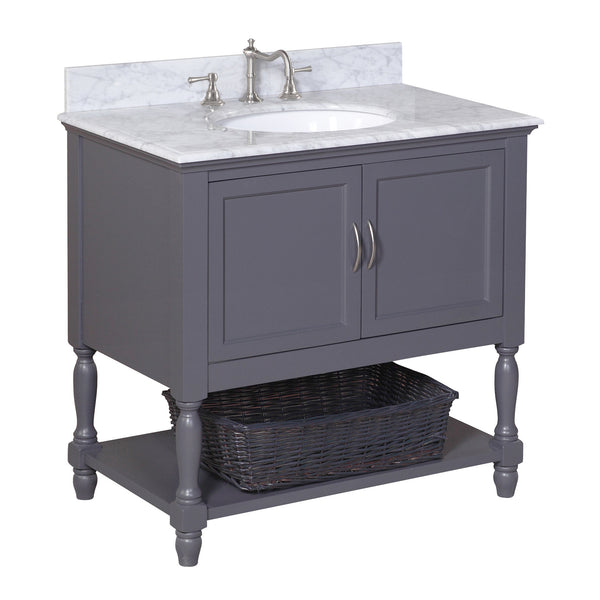 Beverly 36 Inch Vanity (Carrara/Charcoal Gray)