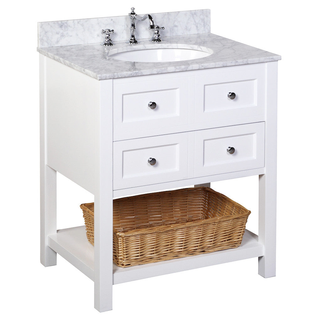 New Yorker 30 Inch Vanity Carrara White New Yorker 30 Inch Vanity Carrara  White KitchenBathCollection