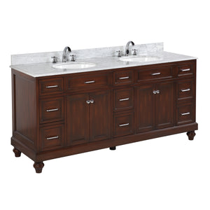 "Amelia 72"" Bathroom Vanity in Carrara Marble & Chocolate"