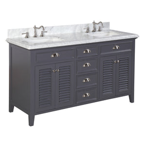 Savannah 60-inch Double (Carrara/Charcoal Gray)