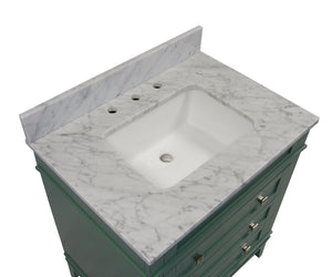Eleanor 30-inch Vanity with Carrara Marble Top