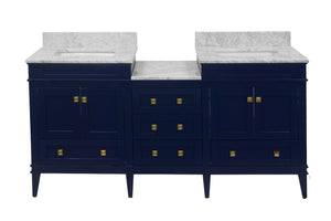 Eleanor 72-inch Double Vanity with Carrara Marble Top