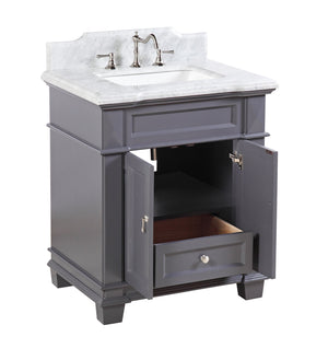 Elizabeth 30-inch Vanity with Carrara Marble Top