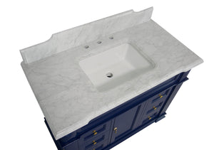 Elizabeth 42-inch Vanity with Carrara Marble Top