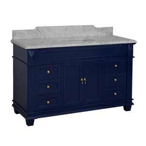 Elizabeth 60-inch Single Vanity with Carrara Marble Top