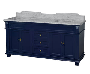 Elizabeth 72-inch Double Vanity with Carrara Marble Top