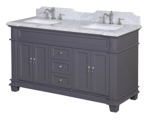 Elizabeth 60-inch Double Vanity with Carrara Marble Top
