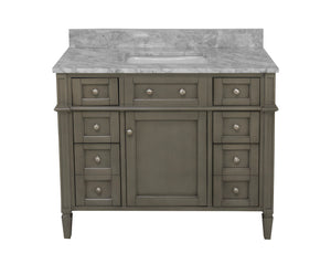 Hailey 42-inch Vanity with Carrara Marble Top