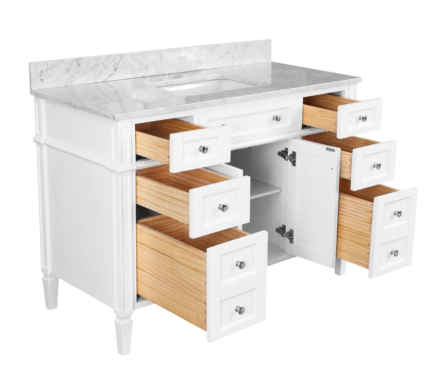 Hailey 48-inch Vanity with Carrara Marble Top