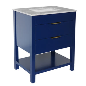 harbor 30 inch royal blue bathroom vanity carrara marble