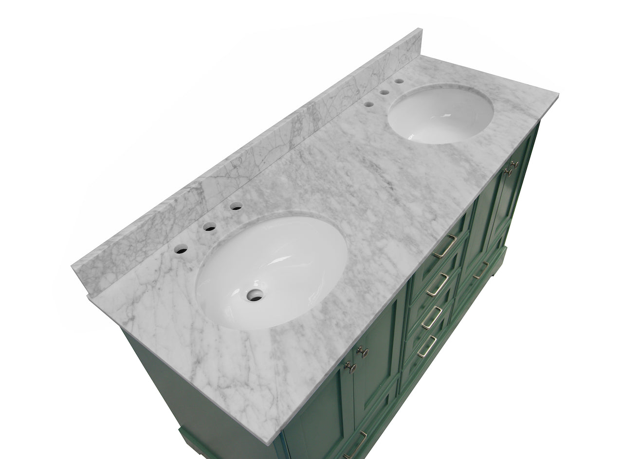 Harper 60 Classic Double Bathroom Vanity With Carrara Marble Top Kitchenbathcollection
