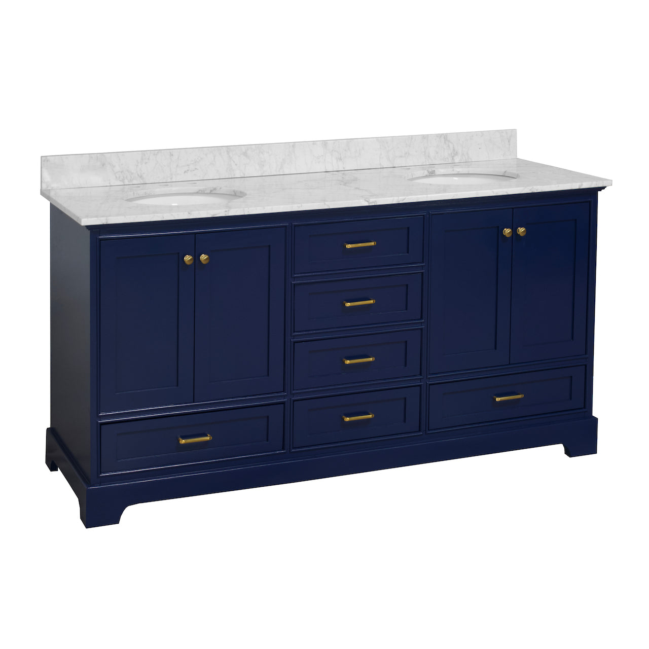 Harper 72-inch Double Sink Bathroom Vanity Royal Blue Carrara Marble Top