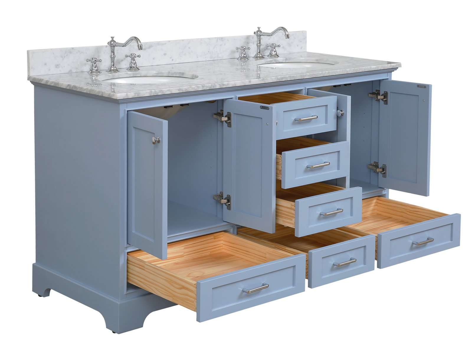 And White Ceramic Sink Carrara Royal Blue Royal Blue Cabinet With Soft Close Function Harper 60 Inch Double Bathroom Vanity Includes Authentic Italian Carrara Marble Countertop Talkingbread Co Il