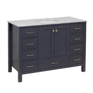 horizon 48 charcoal gray bathroom vanity carrara marble