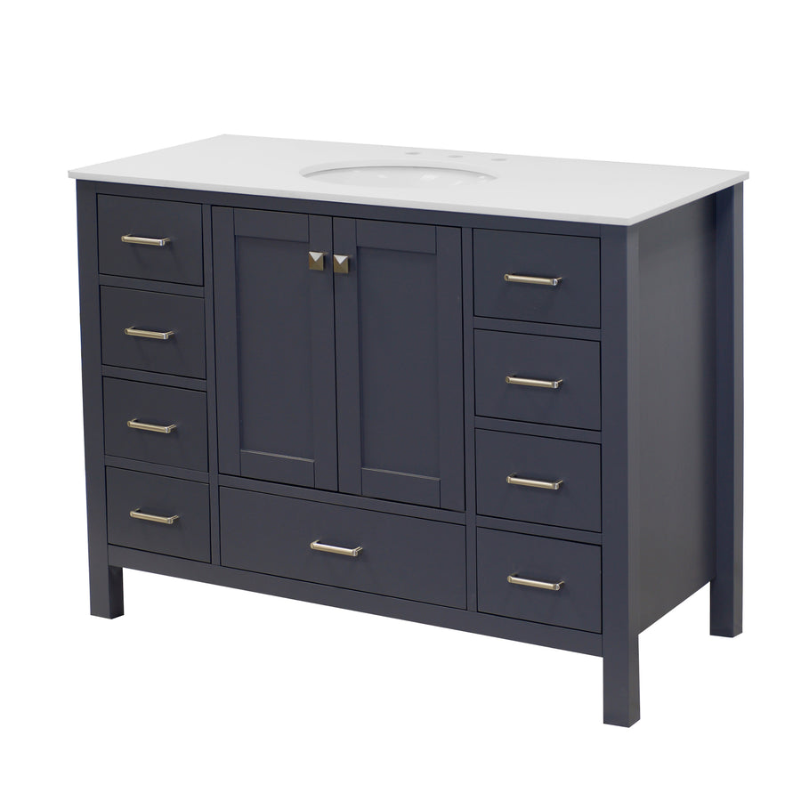 horizon 48 inch charcoal gray bathroom vanity carrara marble