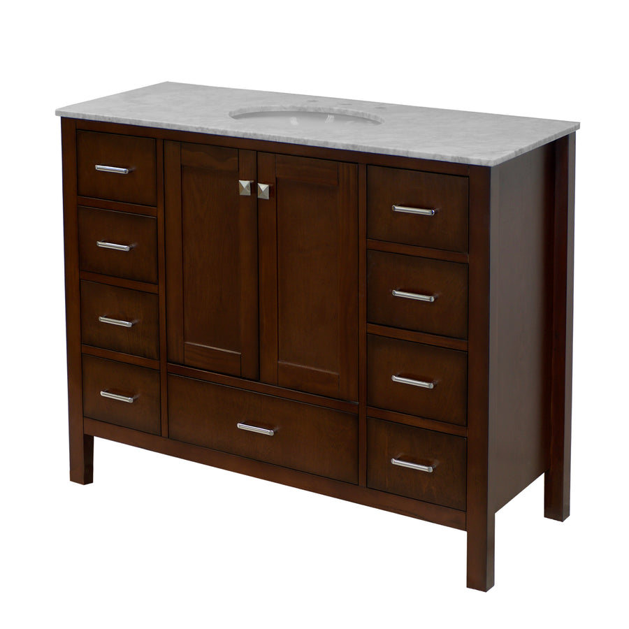 horizon 48 inch chocolate bathroom vanity carrara marble