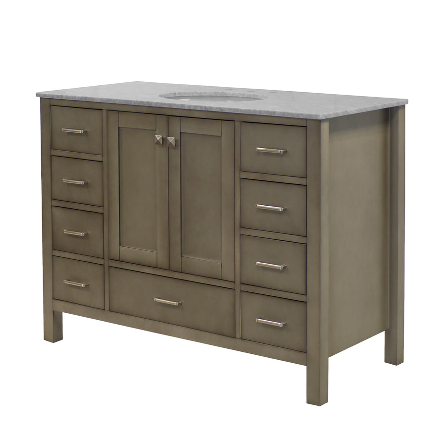 horizon 48 inch weathered gray bathroom vanity carrara marble