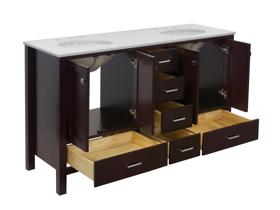 horizon 60 inch chocolate bathroom vanity quartz