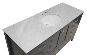 Horizon 60-inch Single Vanity with Carrara Marble Top