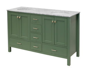 Horizon 60-inch Double Vanity with Carrara Marble Top