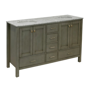 horizon 60 inch weathered gray bathroom vanity carrara marble