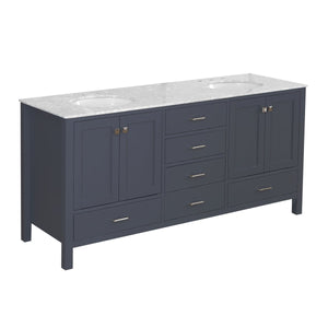 Horizon 72-inch Double Vanity with Carrara Marble Top