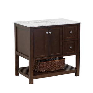 Lakeshore 36-inch Vanity with Carrara Marble Top